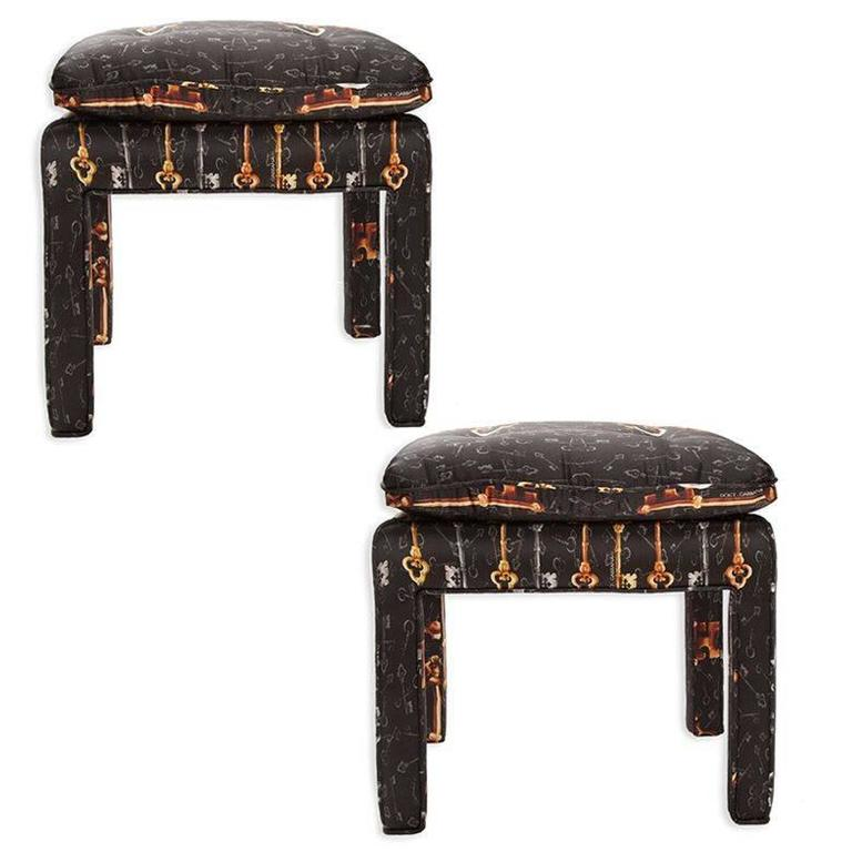 Pair of Billy Baldwin Bench Stools in Dolce and Gabbana Silk