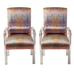 Charles Hollis Jones Lucite Armchairs Upholstered in Silk, Pair