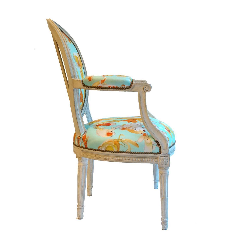 French balloon back chair x voutsa koi on tiffany blue for for Koi furniture
