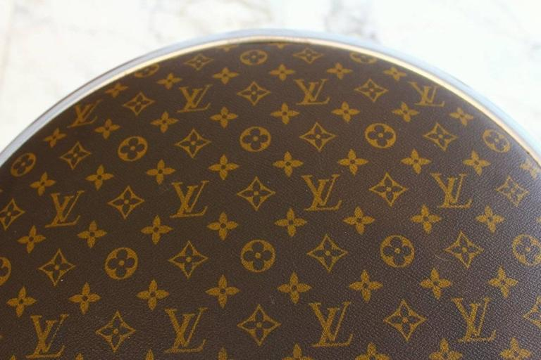 Louis Vuitton Upholstered Chrome Stools Pair For Sale At