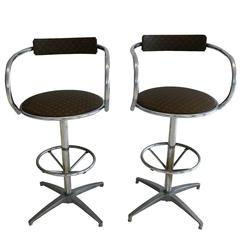 Louis Vuitton Upholstered Chrome Stools, Pair