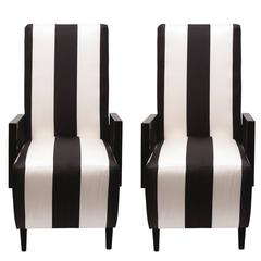 High Back Dining Chairs in Black and White Stripped Silk, Pair