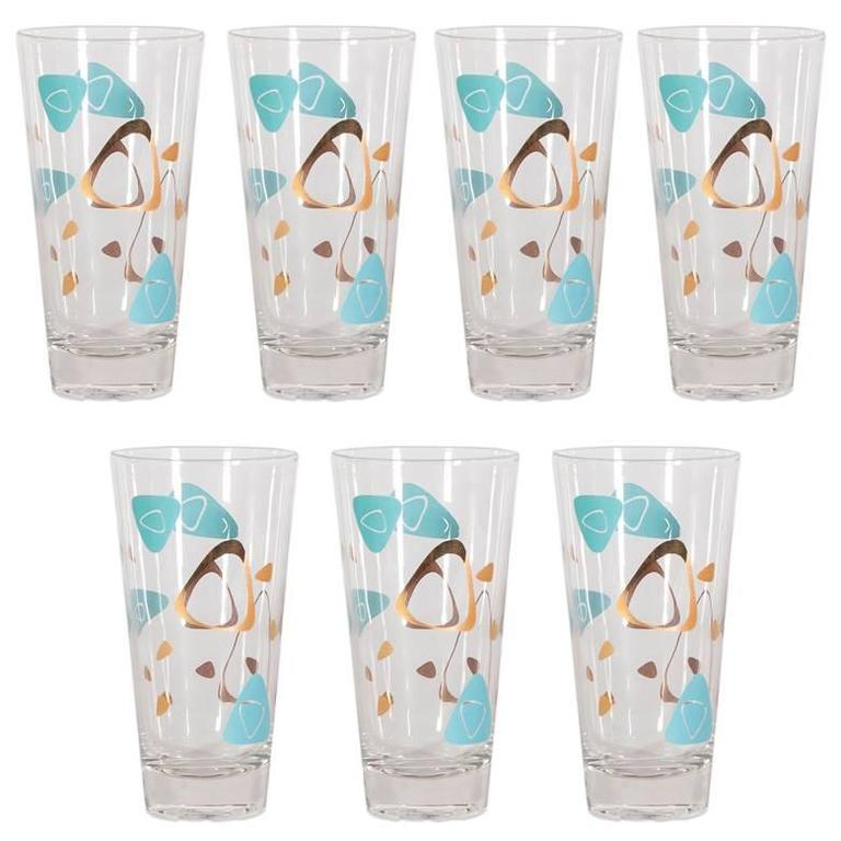 Mid-Century Modernist Cocktail Glasses, Set of Seven