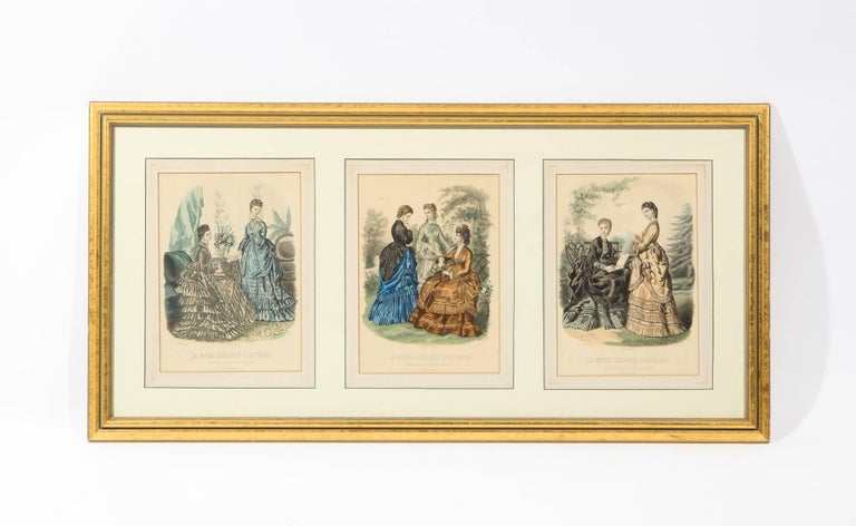 Antique 19th Century Spanish Fashion Prints in Giltwood Frame, Pair ...