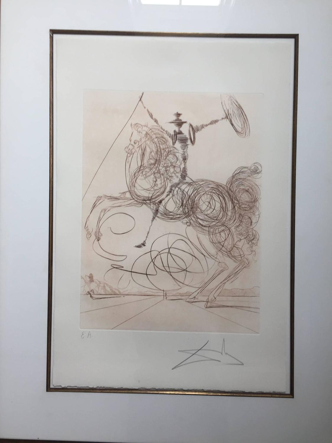 "Salvador Dali, ""Horseman"", etching, signed and inscribed ..."