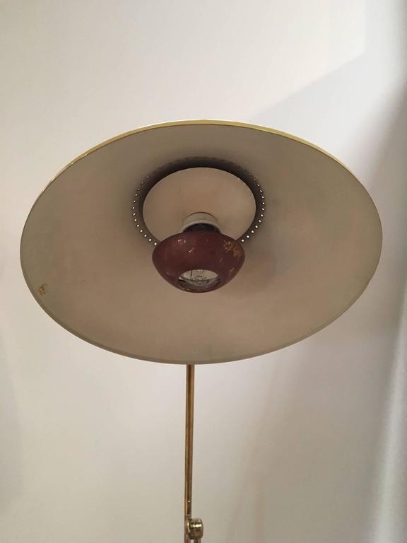 Adjustable Stilnovo Painted Enamel and Brass Italian Floor Lamp 4
