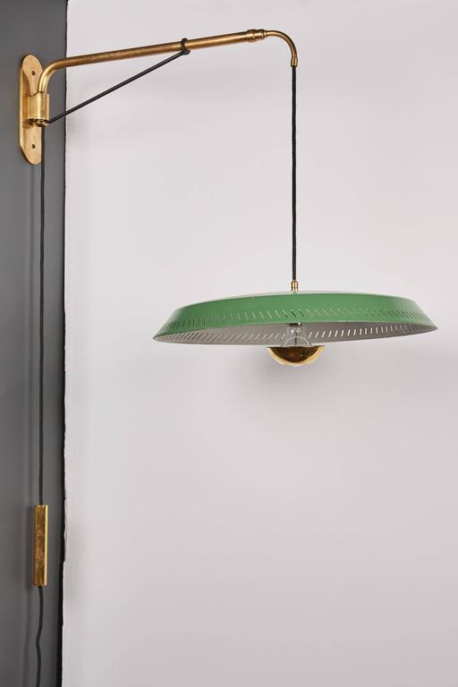 Mid Century Modern Telescoping Stilnovo Adjustable Wall Lamp With Green  Perforated Metal Shade For Sale