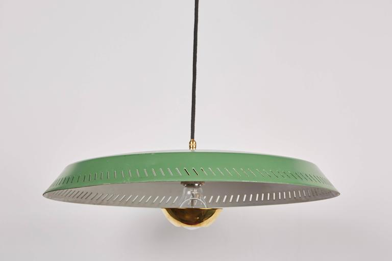 Green Metal Wall Lights : Telescoping Stilnovo Adjustable Wall Lamp with Green Perforated Metal Shade For Sale at 1stdibs
