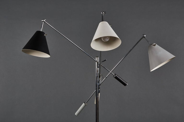 Italian Angelo Lelii Arredoluce Triennale Floor Lamp in Gray, Black and White For Sale