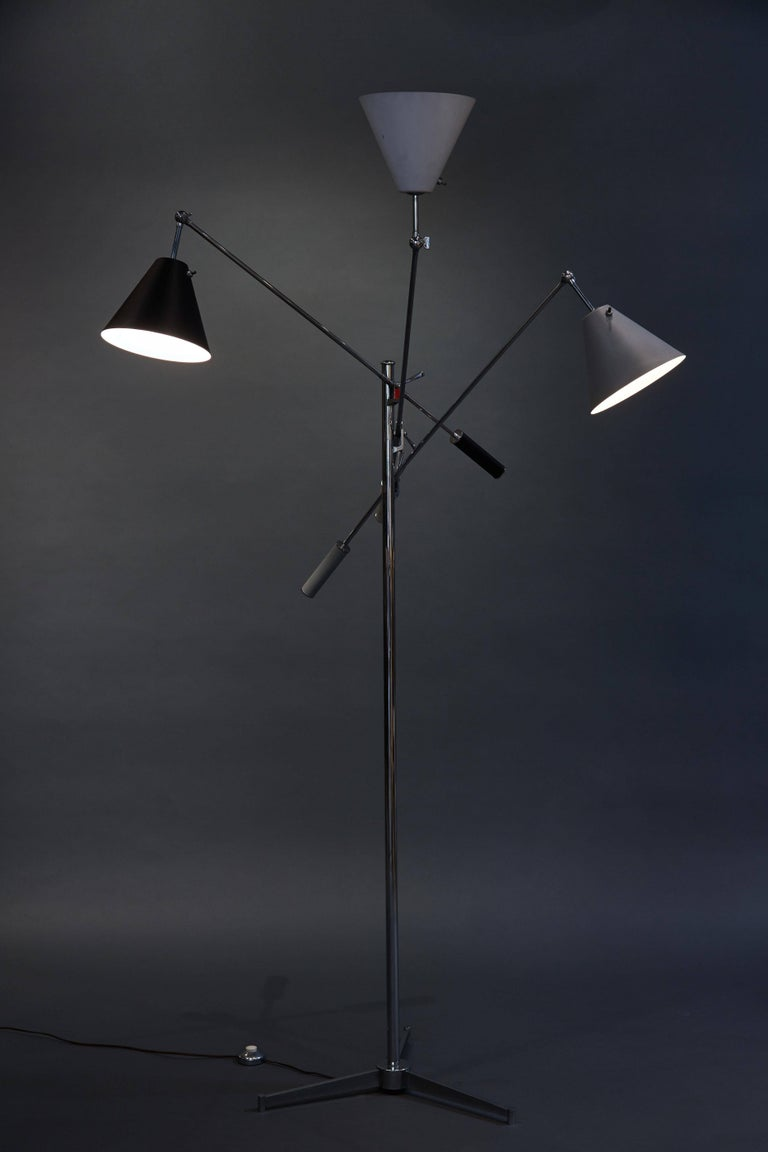 Metal Angelo Lelii Arredoluce Triennale Floor Lamp in Gray, Black and White For Sale