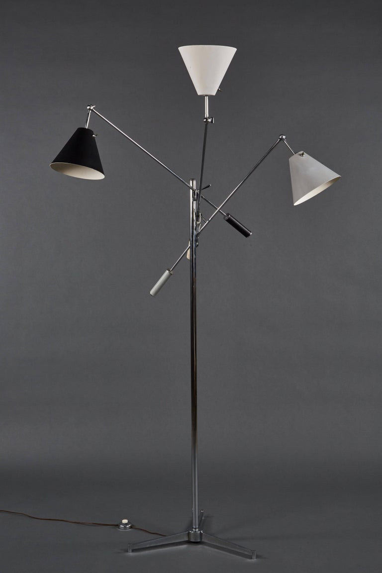 20th Century Angelo Lelii Arredoluce Triennale Floor Lamp in Gray, Black and White For Sale