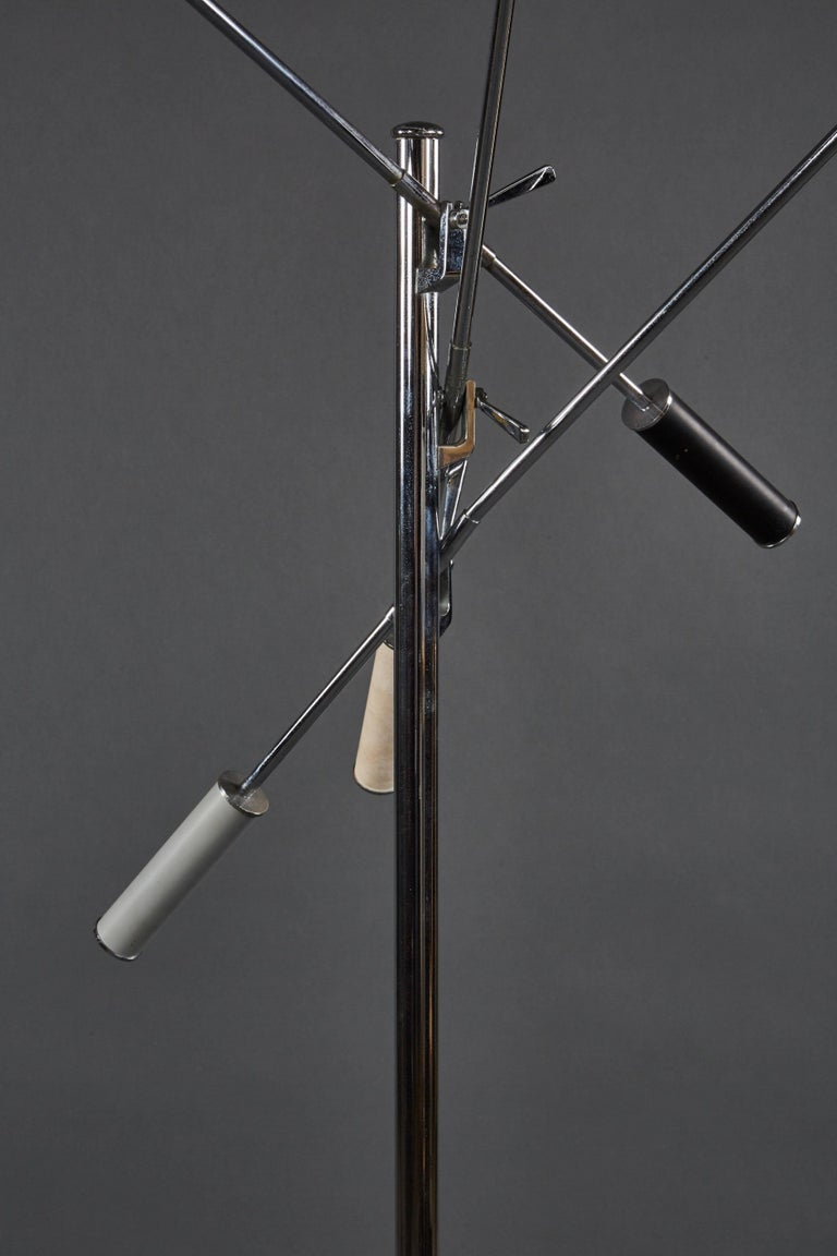 Angelo Lelii Arredoluce Triennale Floor Lamp in Gray, Black and White In Good Condition For Sale In Los Angeles, CA