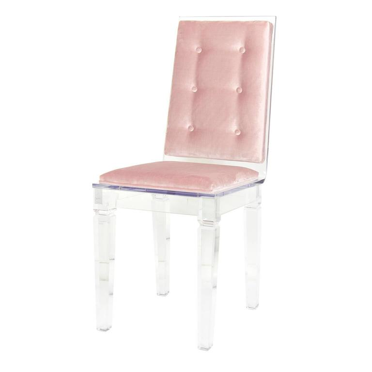 Lucite Chair With Blush Velvet For Sale At 1stdibs