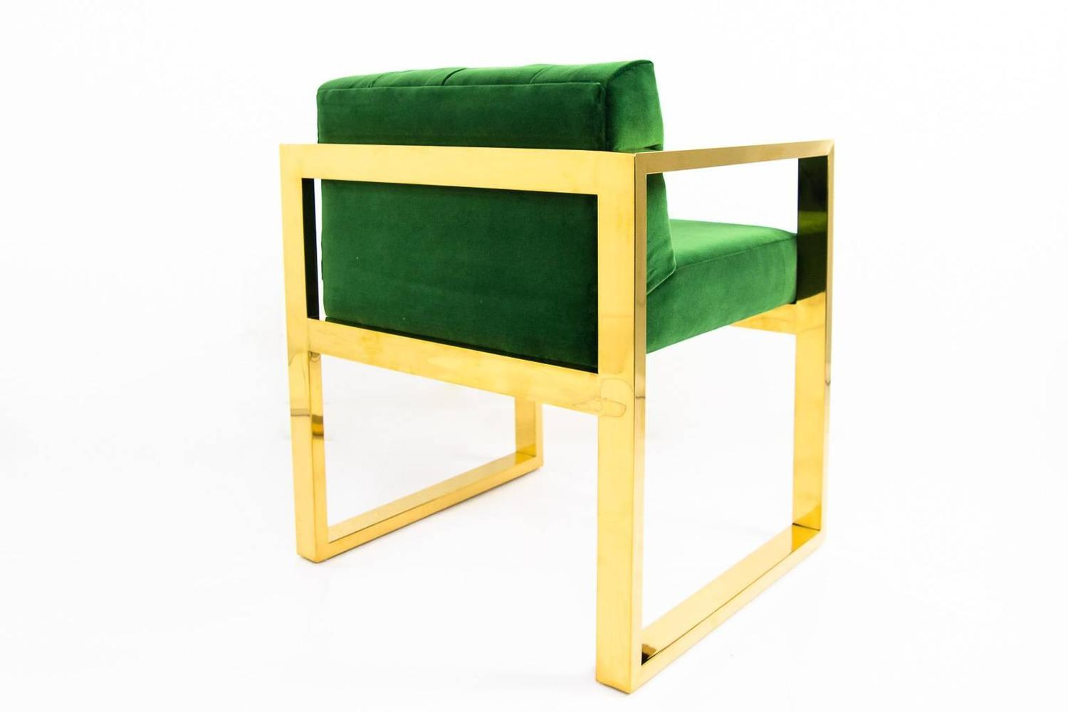 Emerald And Brass Dining Armchair For Sale At 1stdibs