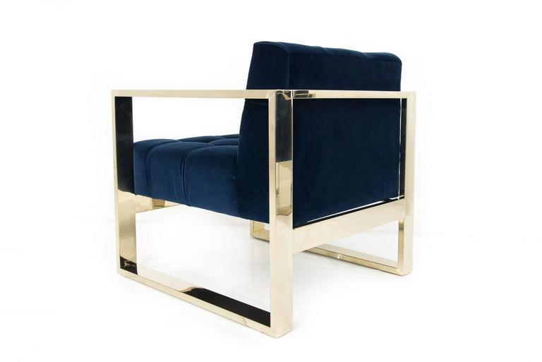 American Modern Style Kube Chair Tufted in Navy Velvet w/ Brass U-Leg Frame For Sale
