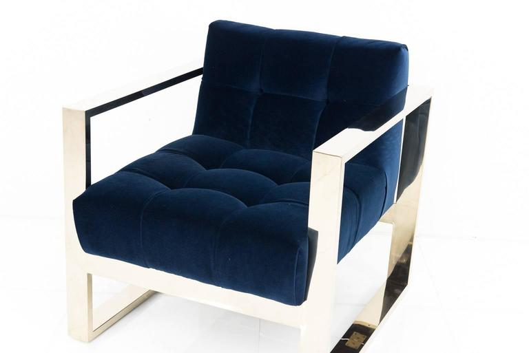 Modern Style Kube Chair Tufted in Navy Velvet w/ Brass U-Leg Frame In New Condition For Sale In Compton, CA