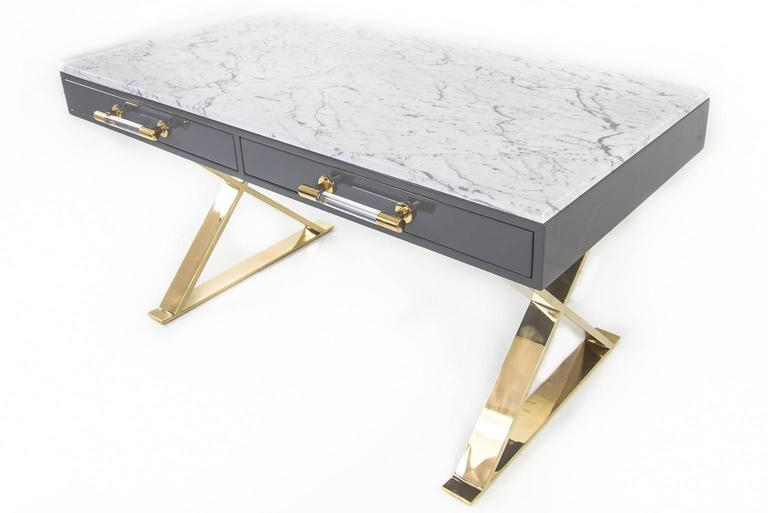 Modern Desk With Marble Top At 1stdibs