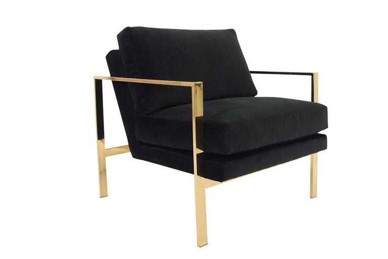 Incroyable Mid Century Modern Style Armchair In Black Velvet W/ Brass Finished Frame