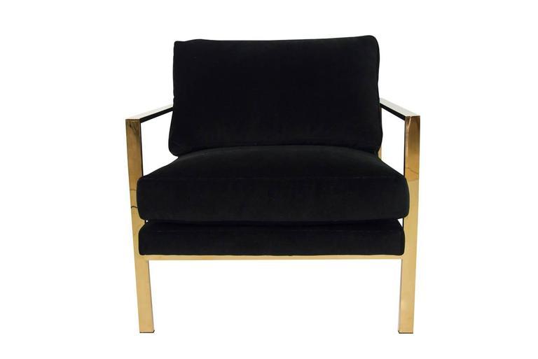 American Modern Mid-Century Modern Style Armchair in Black Velvet w/ Brass Finished Frame  sc 1 st  1stDibs & Mid-Century Modern Style Armchair in Black Velvet w/ Brass Finished ...