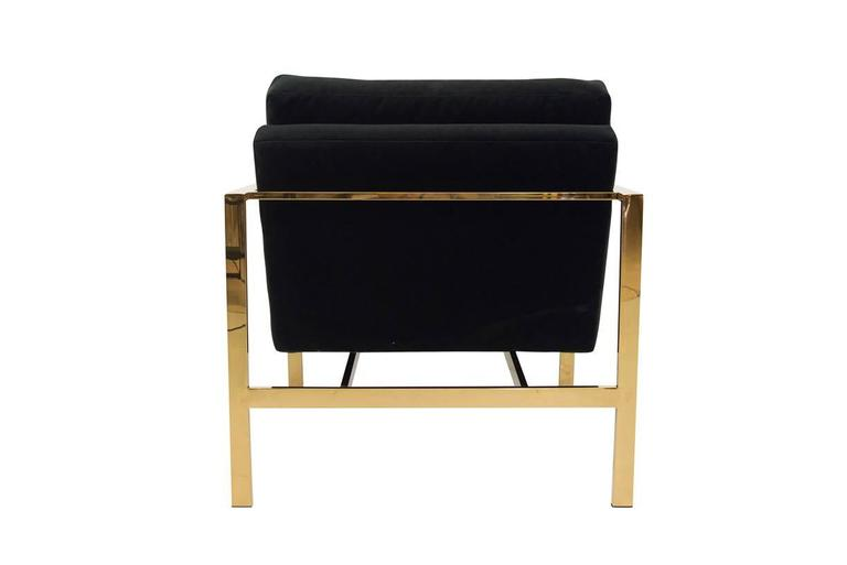 American Mid-Century Modern Style Armchair in Black Velvet w/ Brass Finished Frame For Sale