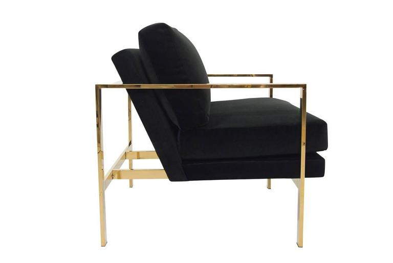 Mid-Century Modern Style Armchair in Black Velvet w/ Brass Finished Frame In New Condition For Sale In Gardena, CA