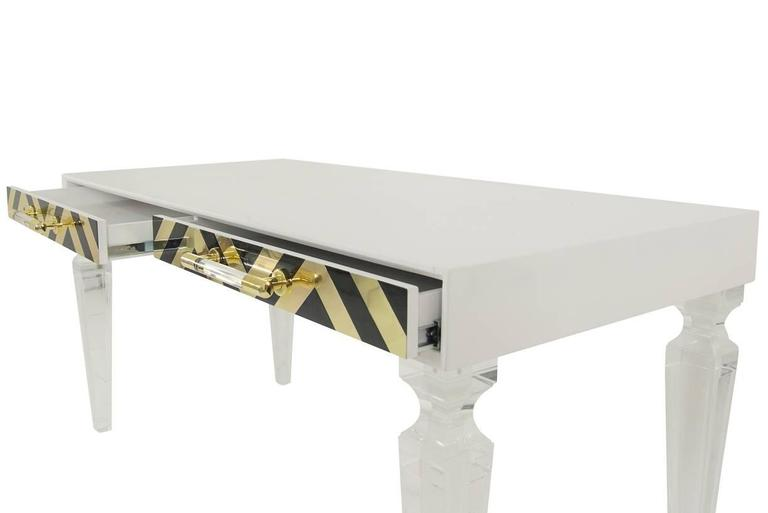 American Modern Modern Style Capri Desk in White with Black & Gold Detail and Lucite Legs For Sale