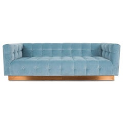 Modern Style Delano Sofa Tufted in Capri Blue Velvet w/ Copper Toekick Base