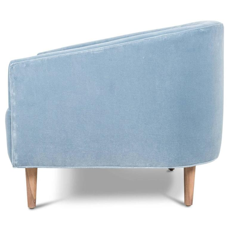 Art Deco Style St Bart S Accent Chair Tufted In Light Blue Velvet