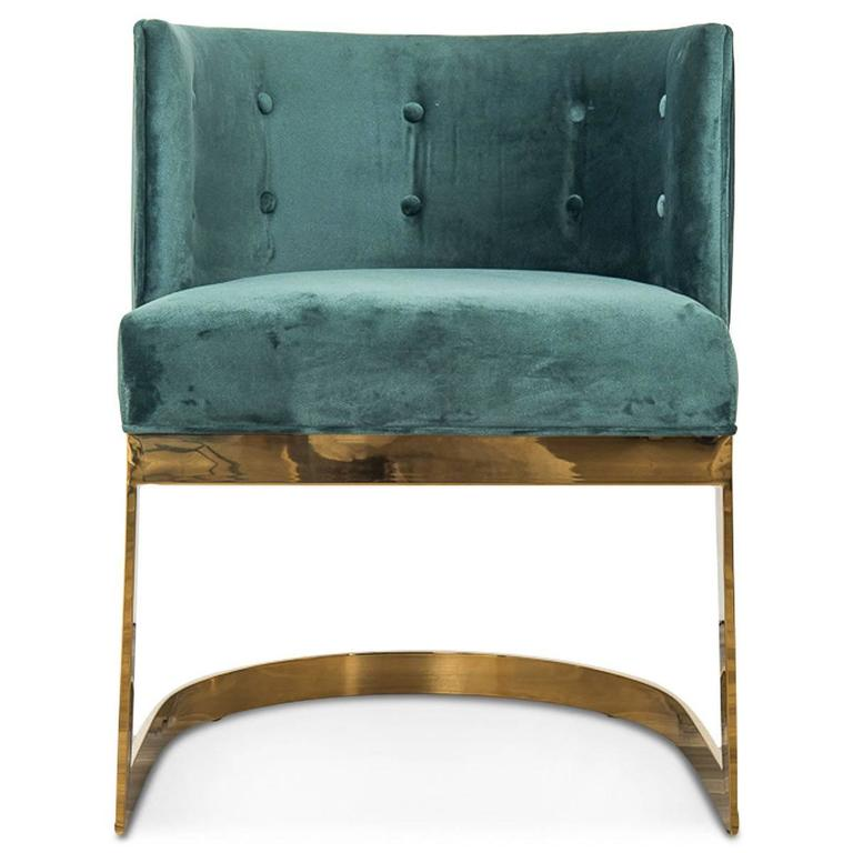 Chinese Art Deco Style Ibiza Dining Chair In Hunter Green Velvet W/ Curved  Brass Frame