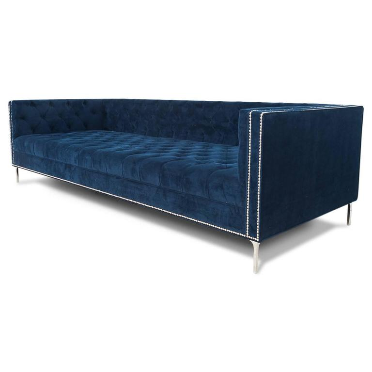 Extra deep tufted mid century sofa in navy with chrome for Deep sofas for sale