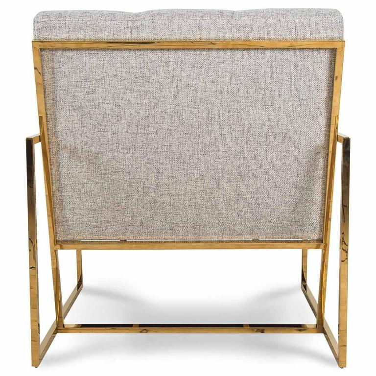 Mid-Century Modern Style Accent Chair in Textured Neutral Linen w/ Brass Frame In New Condition For Sale In Compton, CA