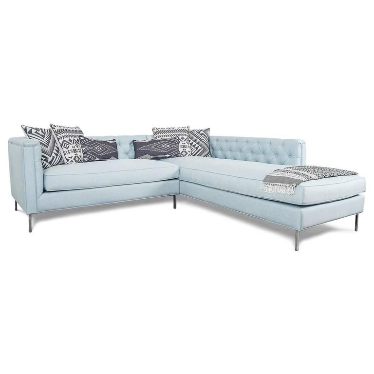 Mid-Century Tufted Sectional in Ice Blue Linen 4