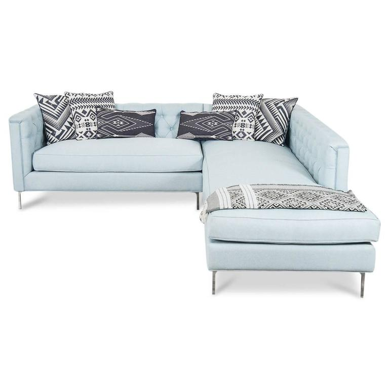 Mid-Century Tufted Sectional in Ice Blue Linen 2