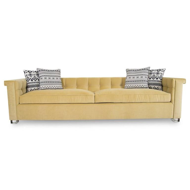 Chinese Mid Century Style Over Sized Sofa In Soft Yellow Velvet W/ Lucite