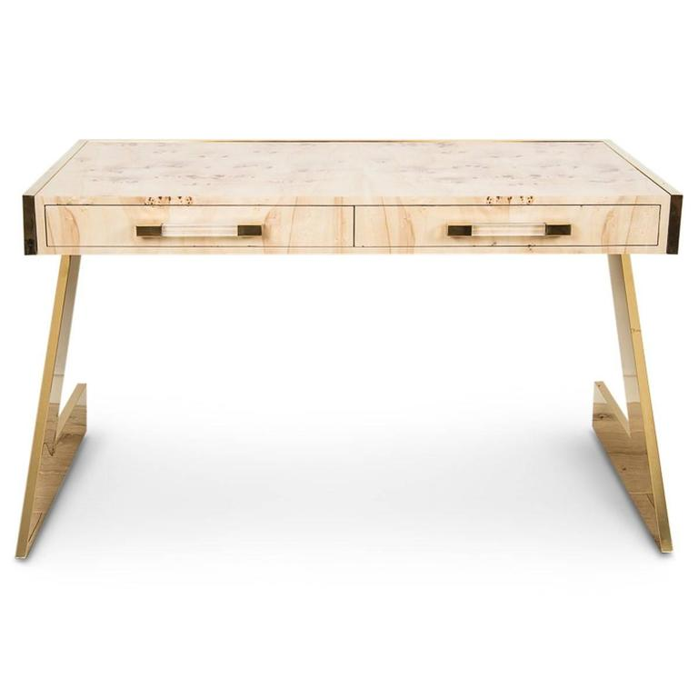 MidCentury Modern Style ZLeg Desk in Brass w Mappa Burl Wood