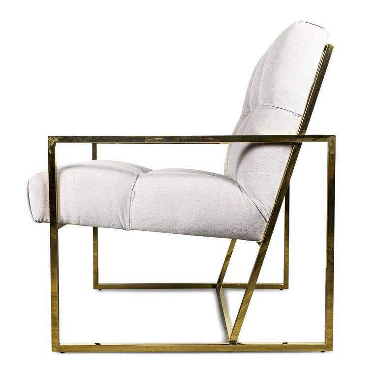 Chinese Mid-Century Modern Style Tufted Accent Chair in Cream Velvet with Brass Frame For Sale
