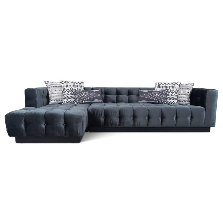 Mid-Century Sectional with Chaise Tufted in Black Velvet 3