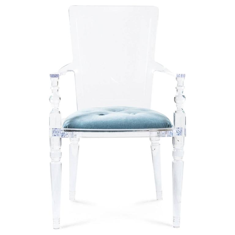 Modern Style Lucite Dining And Accent Chair With Ice Blue