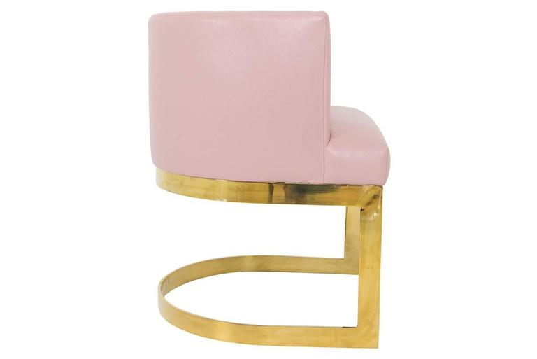 Accent Dining Chair In Blush Pink Faux Leather With Curved