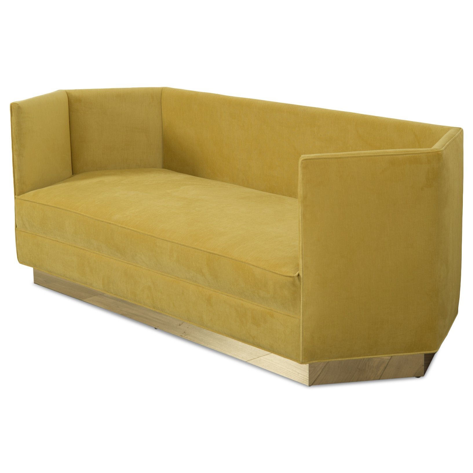 Modern Hexagon Sofa in Venice Marigold Velvet and Polished Brass Veneer Toe Kick