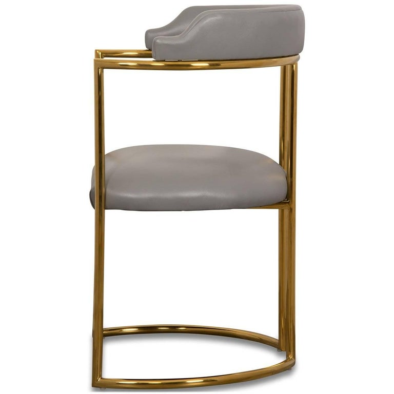 Chinese Modern Curved Dining Chair in Grey leather with Brass Frame Acapulco 2 For Sale
