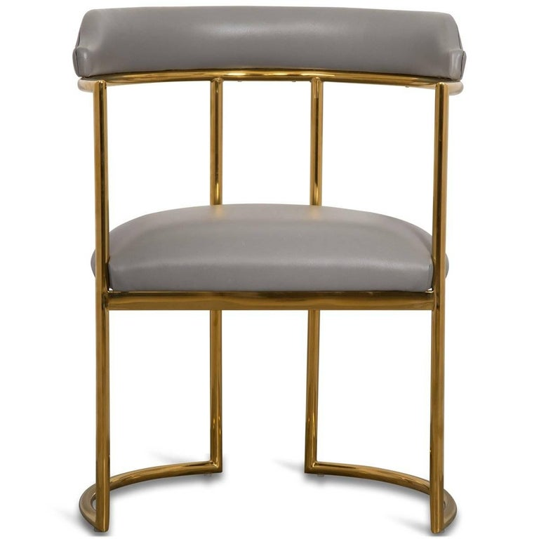 Meet the Acapulco 2 dining chair, the newest version of the popular Acapulco dining chair. As the perfect accent for your modern dining room, the Acapulco 2 is upholstered in your choice of colored leather with beautifully curved brass legs and a