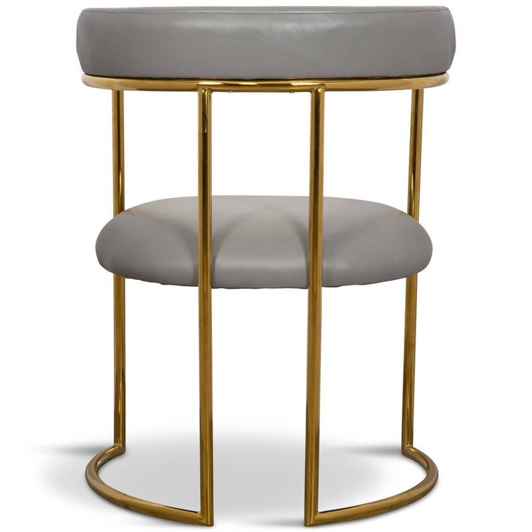 Modern Curved Dining Chair in Grey leather with Brass Frame Acapulco 2 In New Condition For Sale In Gardena, CA