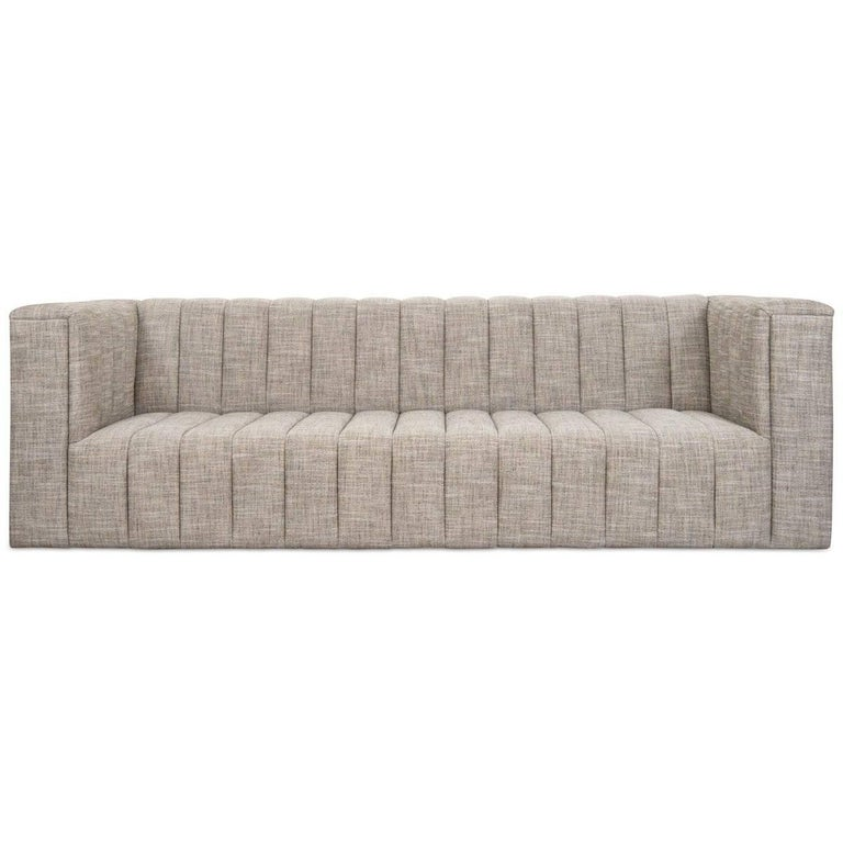 Amsterdam School Mid-Century Modern Sofa in Butterscotch Linen with Long Arm Tufting Tight Fit For Sale