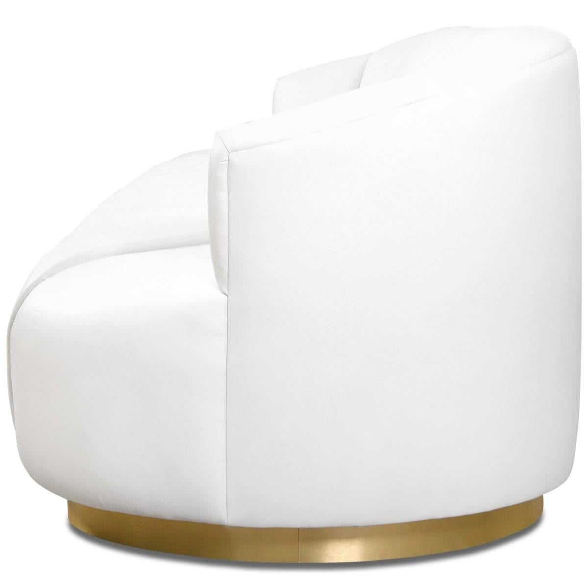 Modern Tufted Pearl White Faux Leather Sofa With Channel Tufting U0026 Brass  Toekick For Sale 1