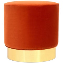 Modern Style Chubby Ottoman in Paprika Velvet with Polished Brass Toekick