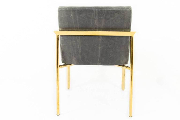 Long Arm Tufted Dining Chair in Distressed Leather 2