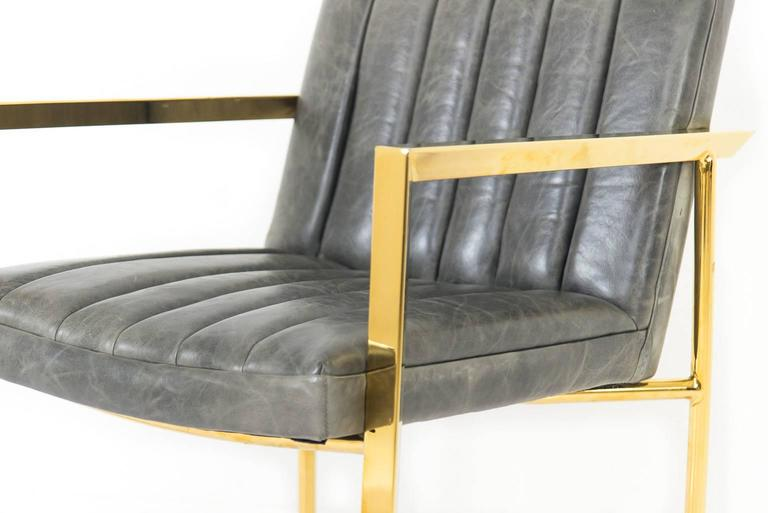 Long Arm Tufted Dining Chair in Distressed Leather 3