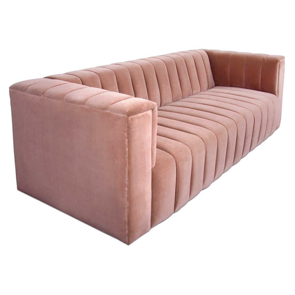 Mid-Century Style Velvet Fat Channel Tufted Chunky Thick Sofa
