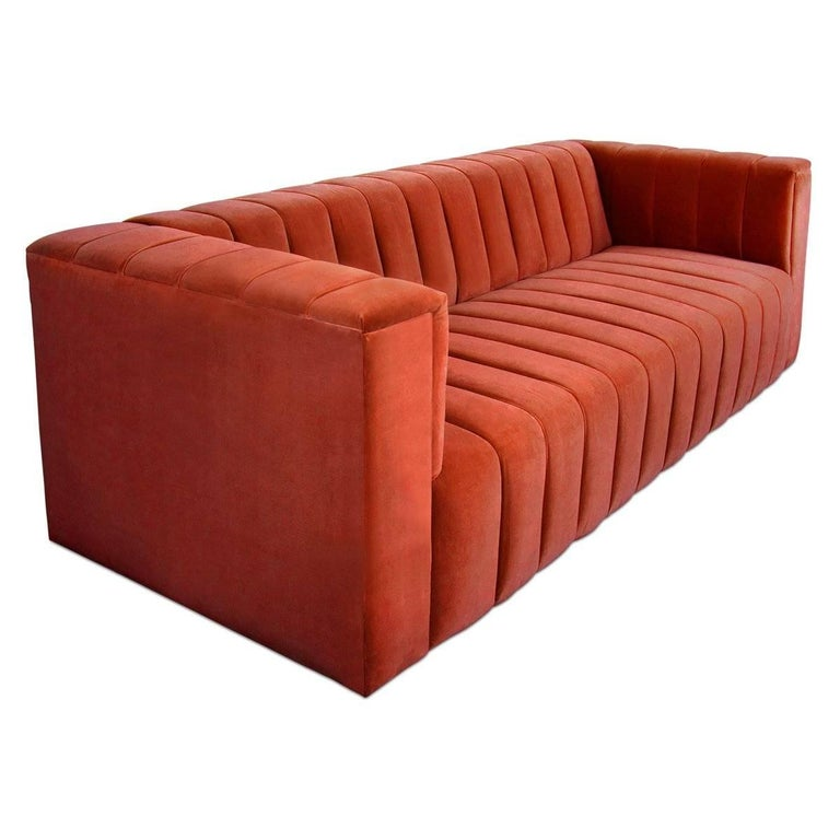 Mid-Century Style Paprika Velvet Fat Channel Tufted Chunky Thick Sofa
